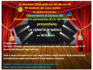 locandina evento cometa